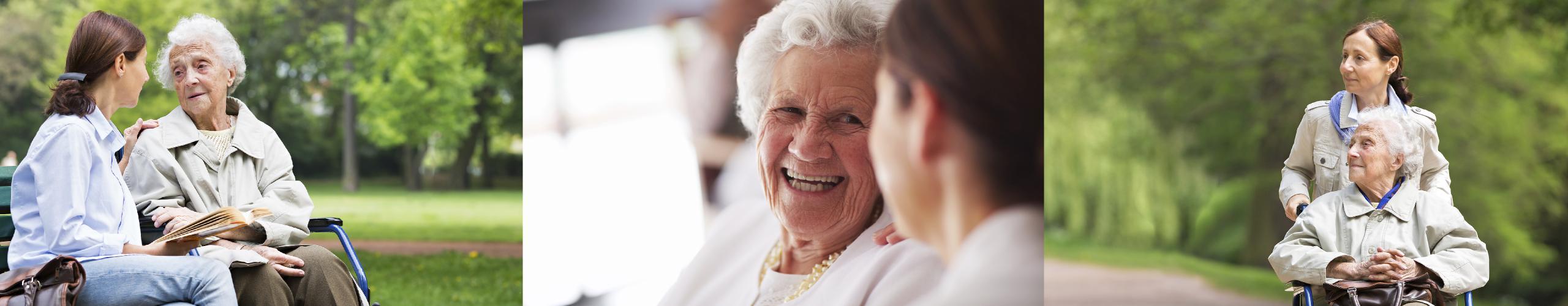 Bilde av eldre mennesker som får hjelp